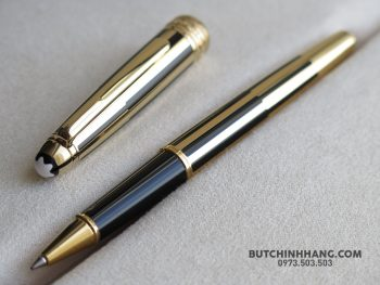 Bút Montblanc Meisterstuck Solitaire Gold & Black Rollerball Pen 35982