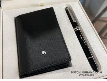 Bộ set bút Montblanc Meisterstuck Classique platinum-coated Rollerball Pen – Ví đựng thẻ tín dụng 118907