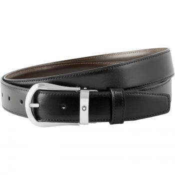 Thắt lưng Montblanc Rounded Trapeze Shiny Palladium-Coated Pin Buckle Leather Belt 118425