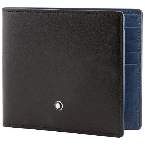 Ví da Montblanc Meisterstuck Leather Black – Light Blue Wallet 8cc 118297