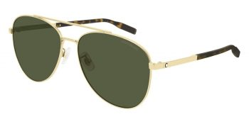 Kính mát Montblanc Aviator Sunglasses MB0081SK 002 Gold/Havana 61mm 0081