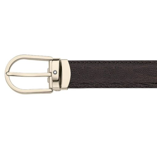 Thắt lưng Montblanc Artisan Line Horseshoe Shiny Light Gold Coat Pin Brown Genulne Tejus Strap Belt 112925