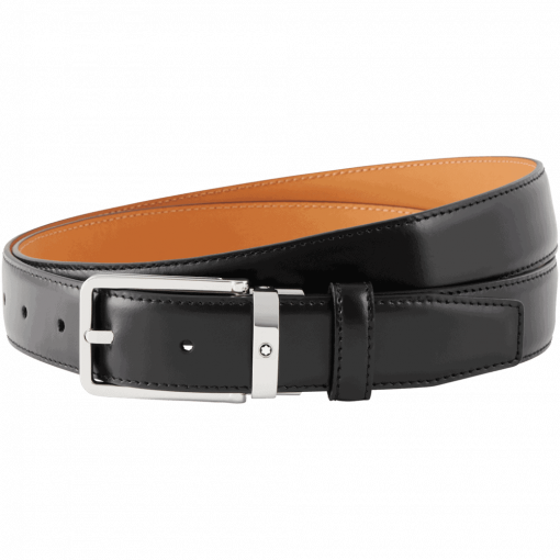 Thắt lưng Montblanc Rectangular Shiny ST Steel Pin Buckle Leather Belt 118418