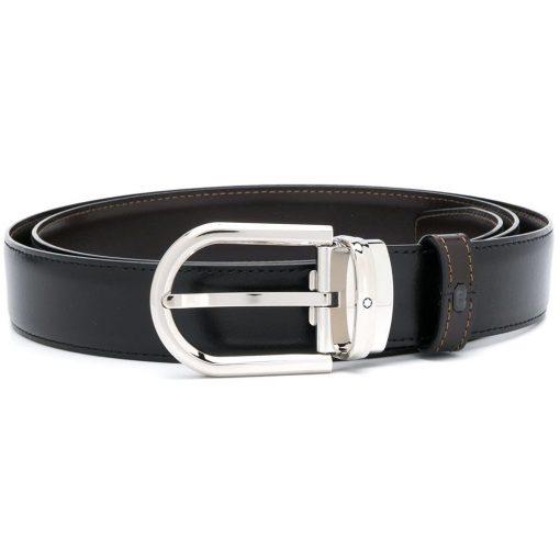 Thắt lưng Montblanc Horseshoe SH Palladium – coat Pin Buckle Reversible Black & Brown Leather Belt 123890