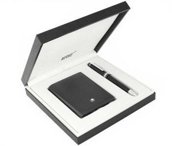Bộ set bút Montblanc Meisterstuck Mid Size Platinum-coated BallPoint Pen & ví namcard holder 116036
