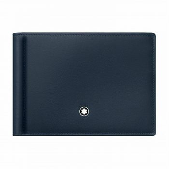 Ví kẹp kiền Montblanc Meisterstuck 6 CC Leather Wallet with Money Clip – Navy 114548