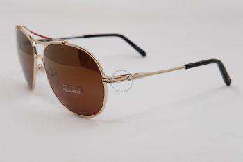 Kính mát Montblanc Aviator Sunglasses Gold/Black Polarized MB703S